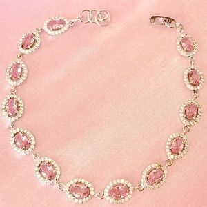 Pink Topaz and White CZ Tennis Bracelet